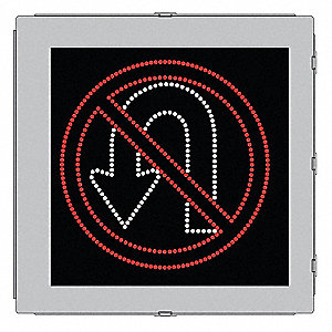 No U Turn LED Compliant Regulatory Traffic Sign, Red/White LED Color, Power Requirements: 120V