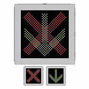 X/Arrow LED Highway Toll Plaza Sign, Green/Red LED Color, Power Requirements: 120V