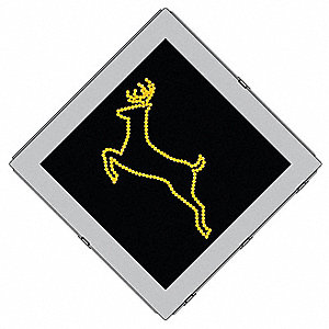 Deer Crossing LED Warning Traffic Sign, Amber LED Color, Power Requirements: 120V