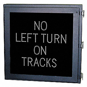 No Left Turn on Tracks LED Compliant At-Grade Rail Sign, White LED Color, Power Requirements: 120V