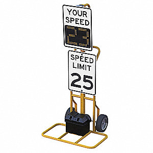 Your Speed/Speed Limit LED Radar Speed Display Sign, Amber LED Color, Power Requirements: 12VDC Batt