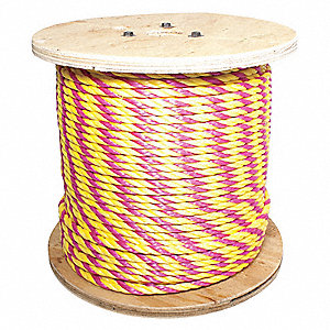 "Polypropylene Safety Rope, 5/16"" Rope Dia., 600 ft. Length, Magenta/ Yellow"