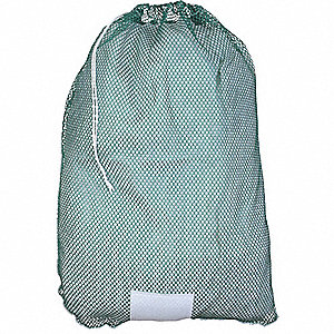 "Heavy Weight Polyester, Drawstring Mesh Laundry Bag, 36"" L X 24"" W, Green"