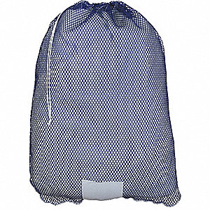 "Heavy Weight Polyester, Drawstring Mesh Laundry Bag, 36"" L X 24"" W, Blue"