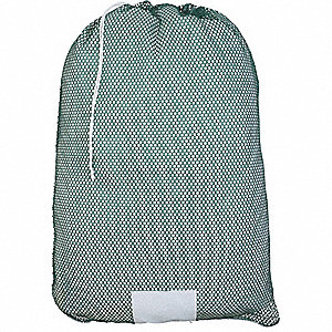 "Medium Weight Polyester, Drawstring Mesh Laundry Bag, 36"" L X 24"" W, Green"