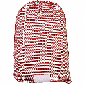 "Medium Weight Polyester, Drawstring Mesh Laundry Bag, 36"" L X 24"" W, Red"