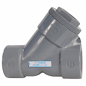 "1-1/2"" Y Check Valve, PVC, Threaded Connection Type"