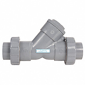 "1-1/4"" True Union Y Check Valve, PVC, Flanged Connection Type"