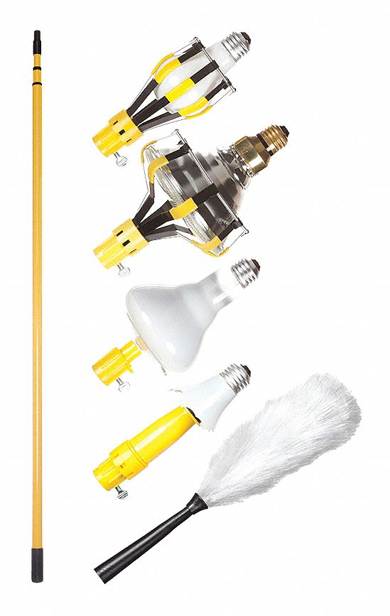 Light Bulb Changer Kit,  Telescopic Pole with Attachments,  For Bulb Type Incandescent
