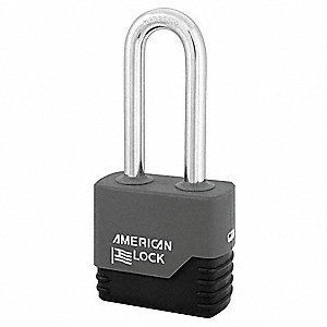 "Alike-Keyed Padlock, Extended Shackle Type, 3"" Shackle Height, Silver"