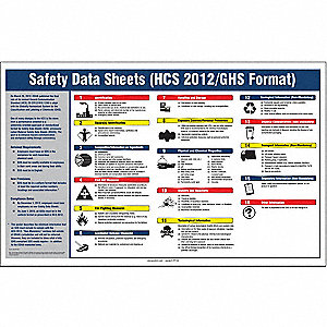 "Right To Know Safety Data Sheets Poster, Plastic Laminate, 20"" x 32"", 1 EA"