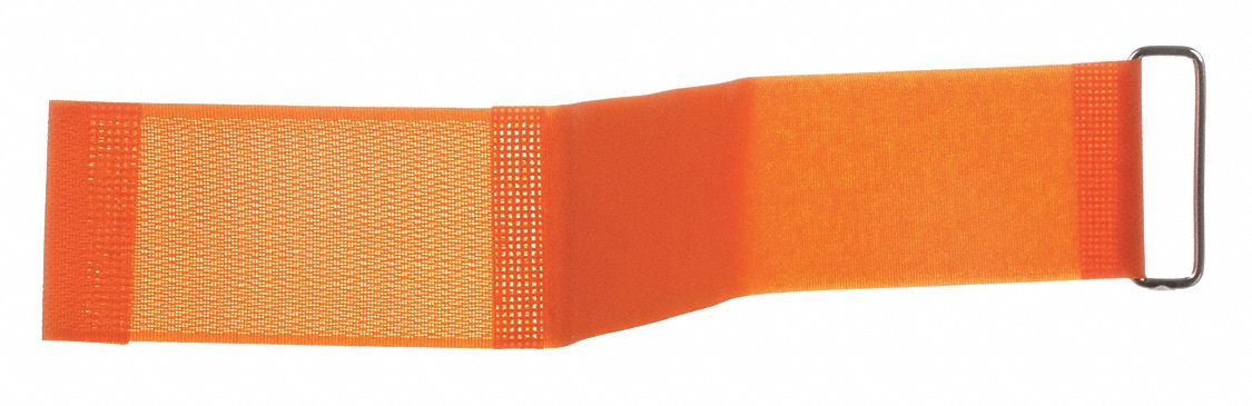 Hook-and-Loop-Type Cam Arm Strap with No Adhesive, Orange, 2 in x 18 in, 10PK