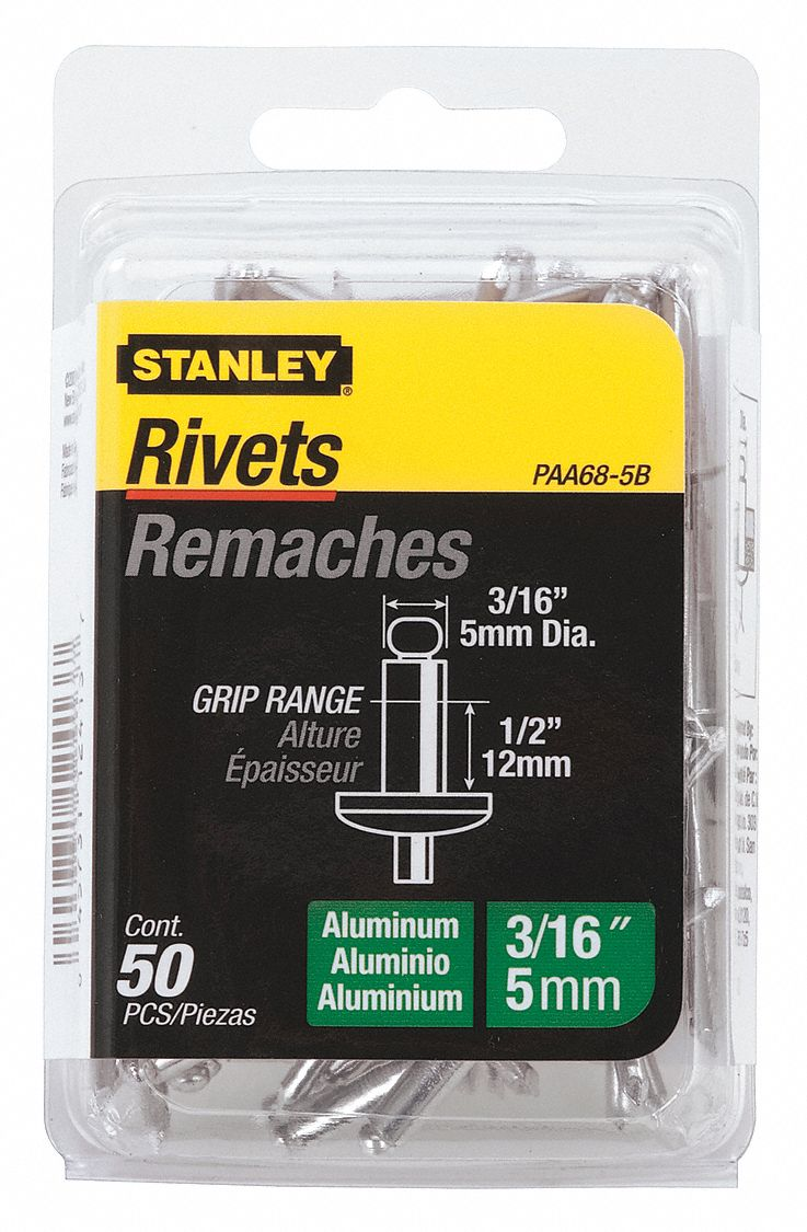 Blind Rivet, Domed Head, Steel Mandrel, 0.5 in L, 3/16 in Rivet Dia., 50 PK