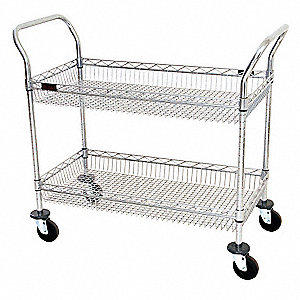 "41""L x 20""W x 36-1/2""H Chrome Steel Wire Basket Cart, 400 lb. Load Capacity"