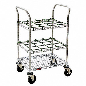 Chrome and PVC Inhalation Therapy Cart, 12 lb. Load Capacity