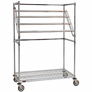"24""D x 60""W x 68""H Chrome Wire Sterile Wrap Cart"