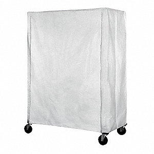 "White Uncoated Polyester Hook-and-Loop Cart Cover, 86""H x 36""L x 24""W"