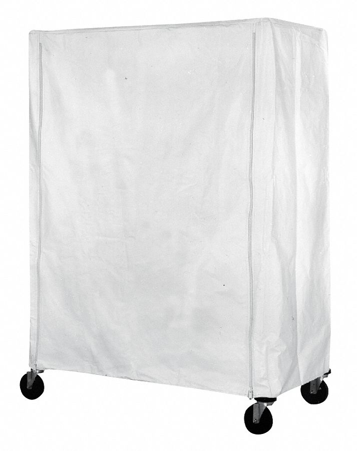 Zipper Machine-Washable Polyester Cover for Wire Shelf & Utility Carts,  Uncoated Polyester,  White