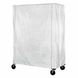 "White Coated Nylon Zipper Cart Cover, 54""H x 60""L x 21""W"