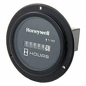 Hour Meter, 120VAC Operating Voltage, Number of Digits: 8, Round Bezel Face Shape