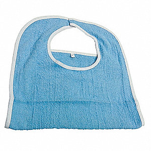 "Terry Bib, Blue, 100% Cotton, Hook and Loop, 18"" x 30"", 12 PK"