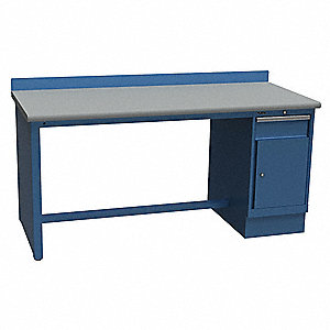 "Single Pedestal Bench, 60"" Width, 30"" Depth  Laminate Work Surface Material"