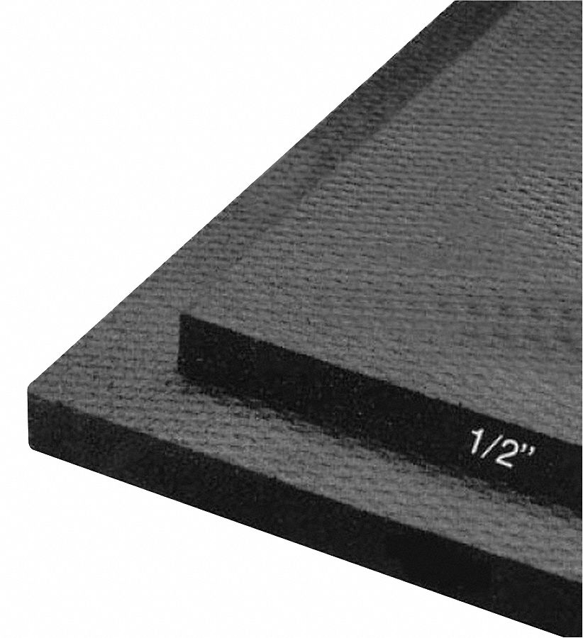 Equipment Mat,  Black,  6 ft Length,  4 ft Width,  1/2 in Thickness,  Rubber