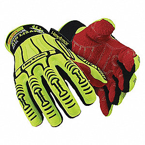 Cut Resistant Gloves, ANSI/ISEA Cut Level A6 Lining, High Visibility Yellow, Black, Red, 2XL, PR 1