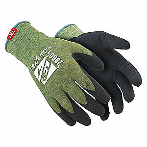 Nitrile Cut Resistant Gloves, ANSI/ISEA Cut Level 4 Lining, Black, Green, L, PR 1