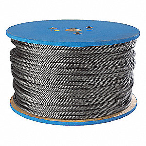 Flexible Wire Rope,Galv. ST,1/8in,500 ft