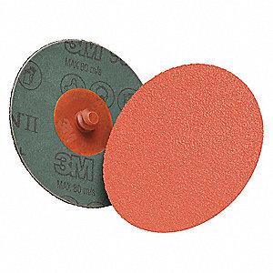 "3"" Coated Quick Change Disc, TS/TSM Turn-On/Off Type 2, 60, Coarse, Ceramic, 50 PK"