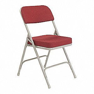 Gray Steel Folding Chair with Burgundy Seat Color, 2PK