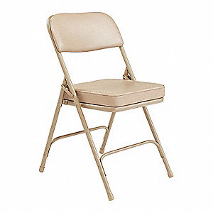 Beige Steel Folding Chair with Beige Seat Color, 2PK