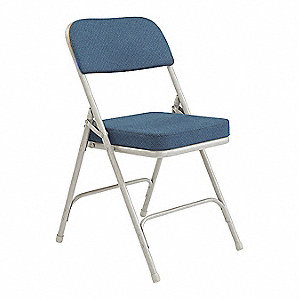 Gray Steel Folding Chair with Blue Seat Color, 2PK
