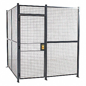 Welded Partition Cage,  Predesigned 2 Sided,  3 ft W x 7 ft H Door Size,  Keyed Different Lock