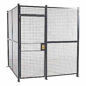 Welded Partition Cage,  Predesigned 4 Sided,  3 ft W x 7 ft H Door Size,  Keyed Different Lock