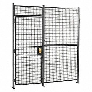 Welded Partition Cage,  Predesigned 1 Sided,  3 ft W x 7 ft H Door Size,  Keyed Different Lock