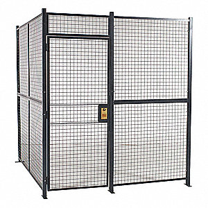 Welded Partition Cage,  Predesigned 3 Sided,  3 ft W x 7 ft H Door Size,  Keyed Different Lock