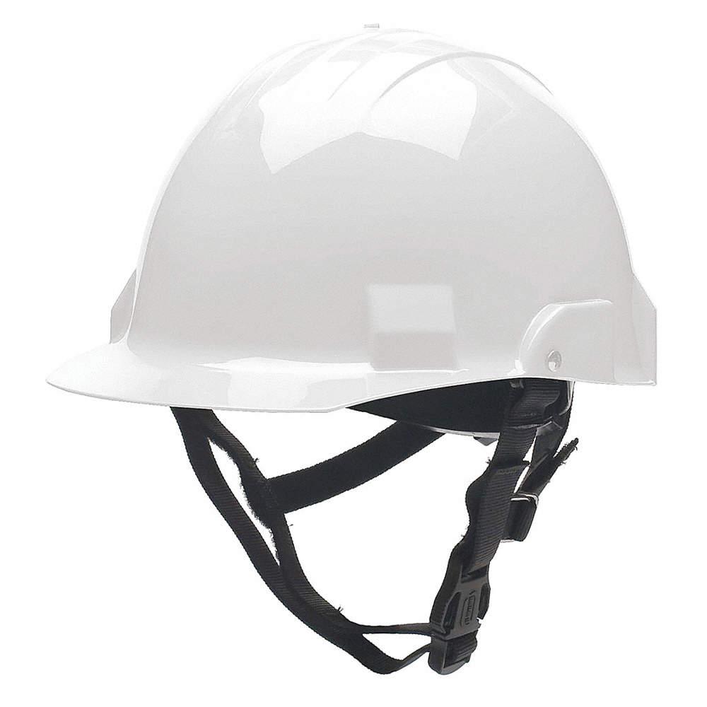 White Fire/Rescue Helmet, Shell Material: Thermoplastic, Standard  Sure-Lock® Ratchet Headband Suspe