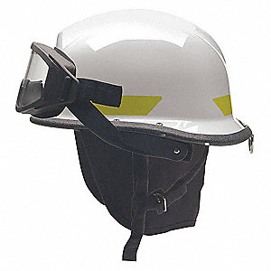 White Fire Helmet, Shell Material: Ultem®, Standard Sure-Lock® Ratchet Headband  Suspension, Fits Ha