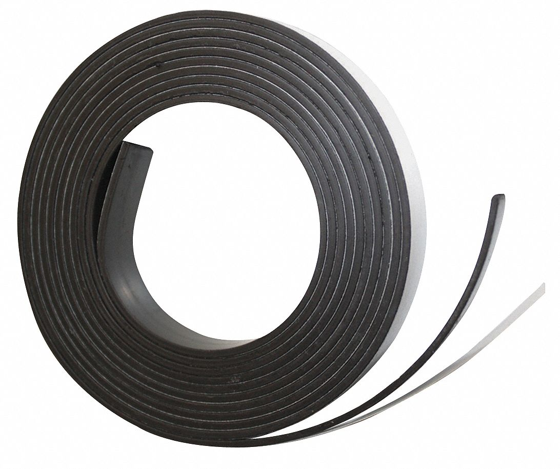 Adhesive Magnetic Strip,  Indoor Adhesive,  7 ft Length,  1/2 in Width