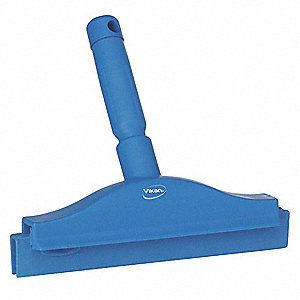 "10""W Straight Double Rubber Bench Squeegee With Handle, Blue"