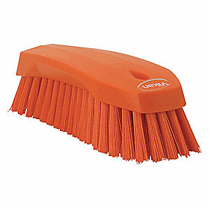 "7-1/2""L Polyester Block Scrub Brush, Orange"