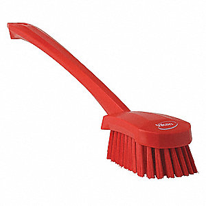 "16""L Polyester Short Handle Scrub Brush, Red"