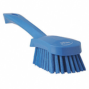 "10""L Polyester Short Handle Scrub Brush, Blue"