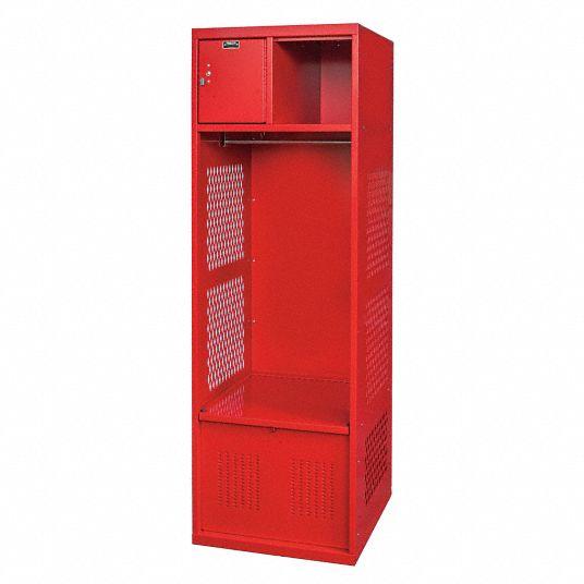 Hallowell Red Steel Gear Locker Assembled 1 Tier 1 Wide Opening Width 22 In 38y827 Wsbf482 1c Rr Grainger