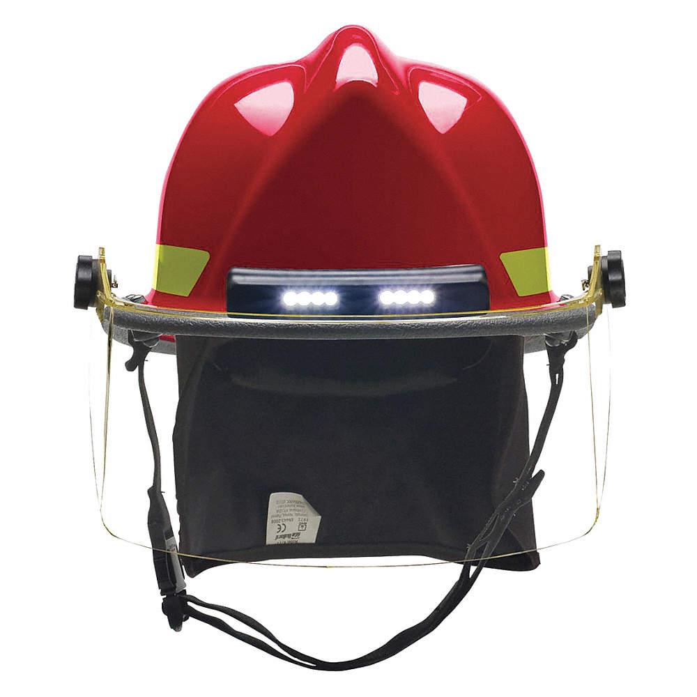 Red Fire Helmet, Shell Material: Ultem®, Standard Sure-Lock® Ratchet  Headband Suspension, Fits Hat