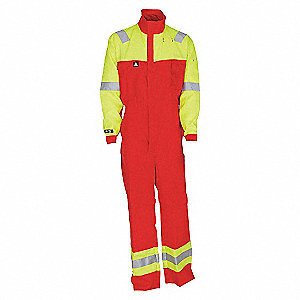 COVERALL FR HI-VIS RED/YLW-M
