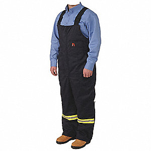 "Royal Blue Striped Insulated Overall, Cotton/Nylon/Modacrylic, Fits Waist Size: 42"" to 44"", 28"" Inse"