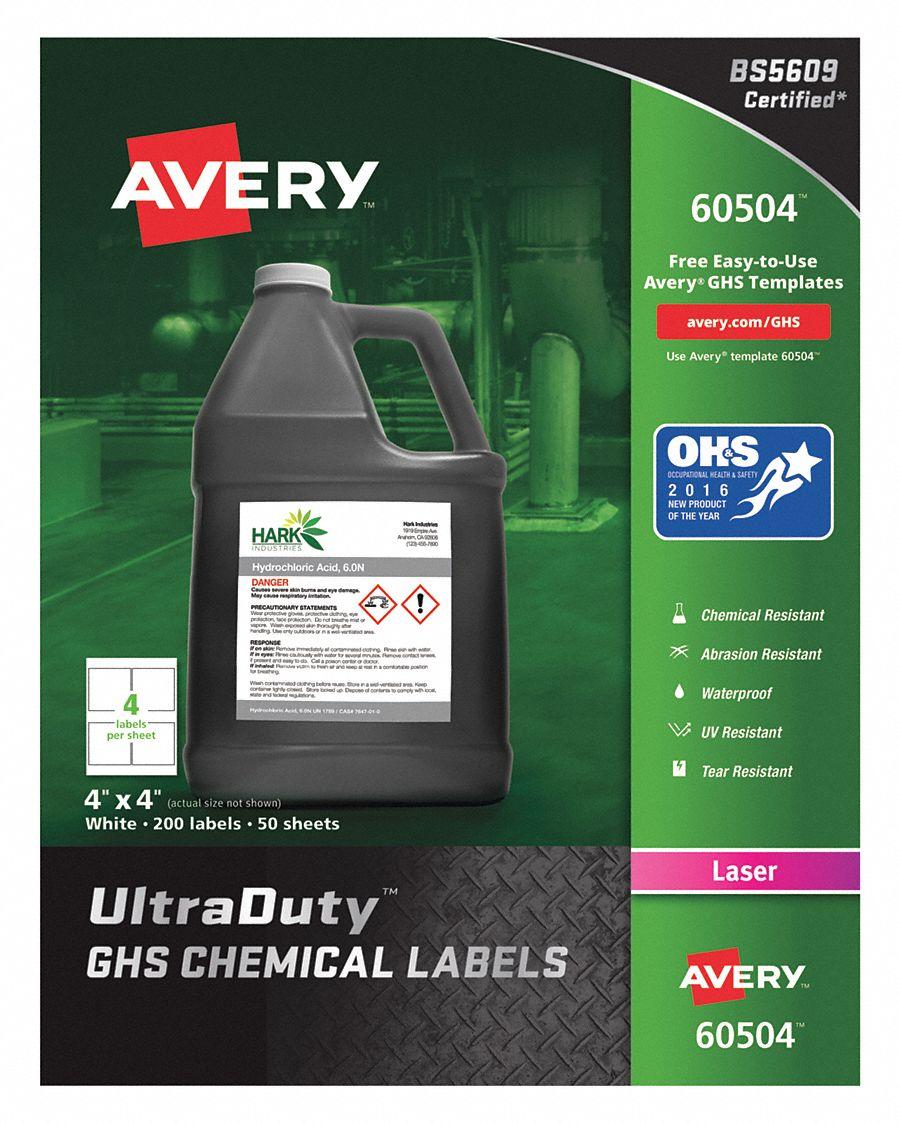 avery chem label 4 w x 4 h 200 labels pk200 38yv47 60504 grainger
